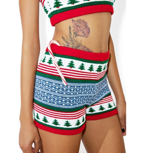 Knitty Kitty Oh Xmas Tree Knit Shorts