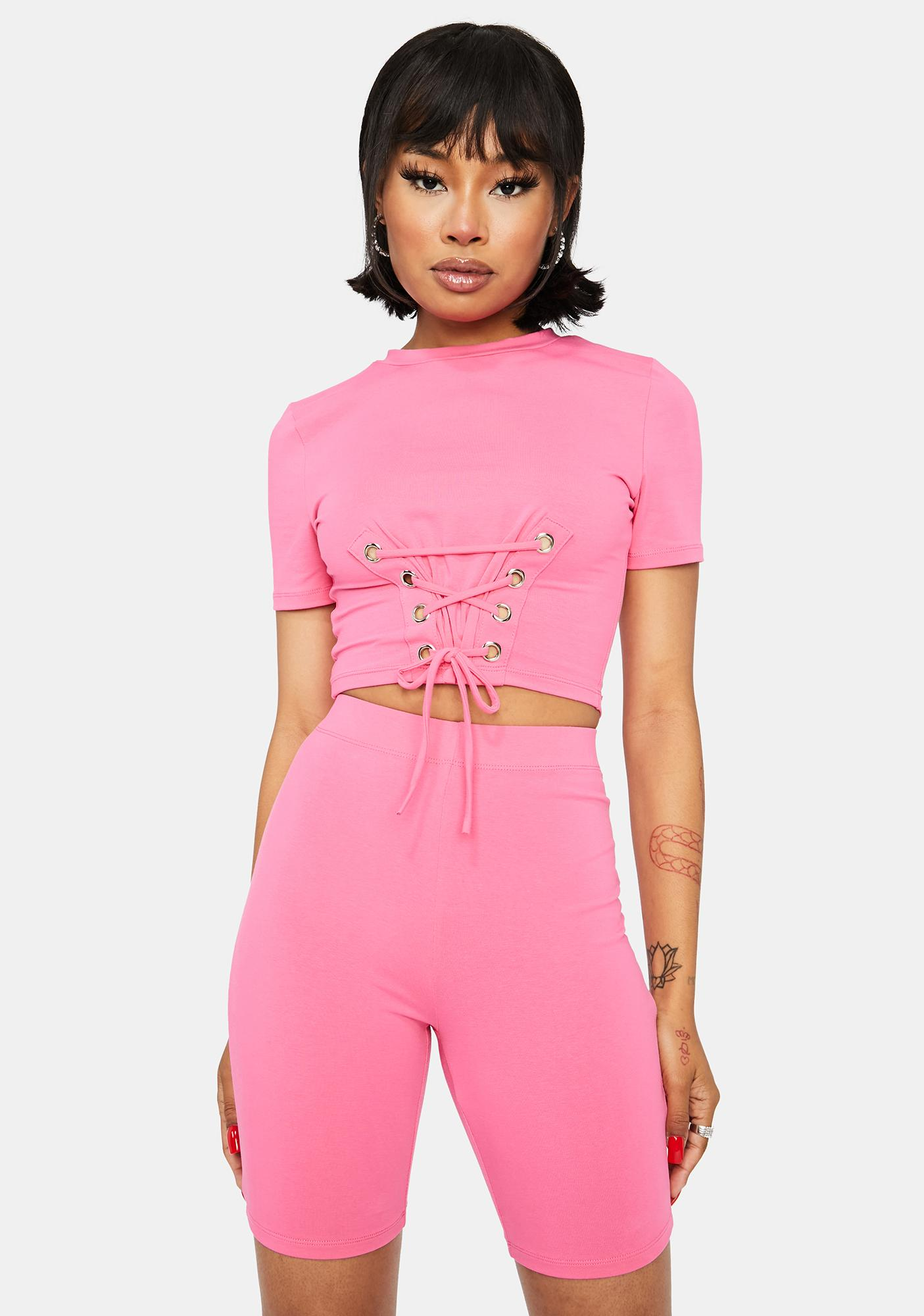 Flirty Actually Famous Lace Up Crop Top Shorts Set