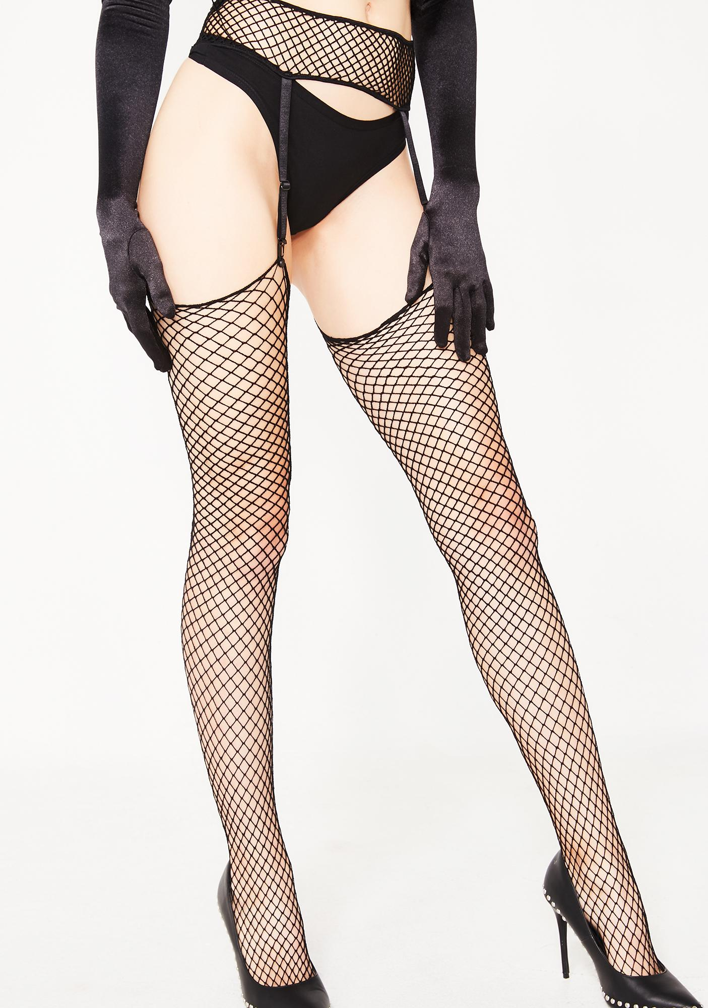 Fishnet Garter Belt Stockings