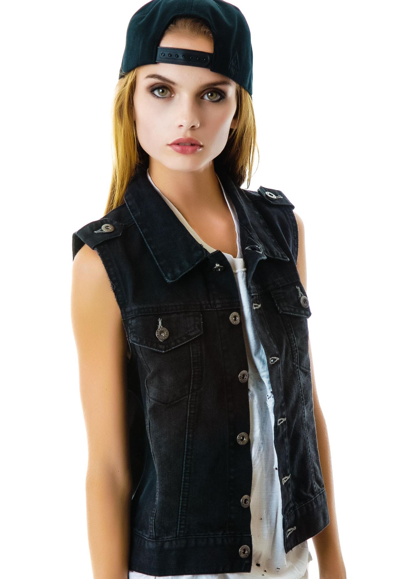 Glamour Kills Wild Hearts Denim Vest