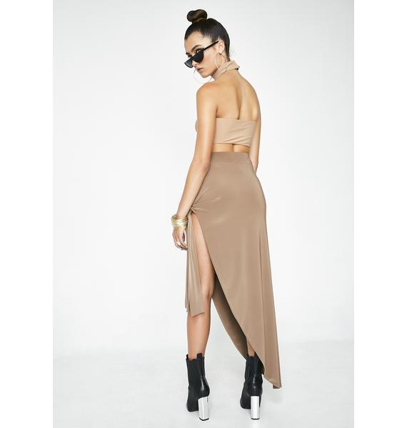Mocha Can't Keep A Secret Asymmetrical Skirt