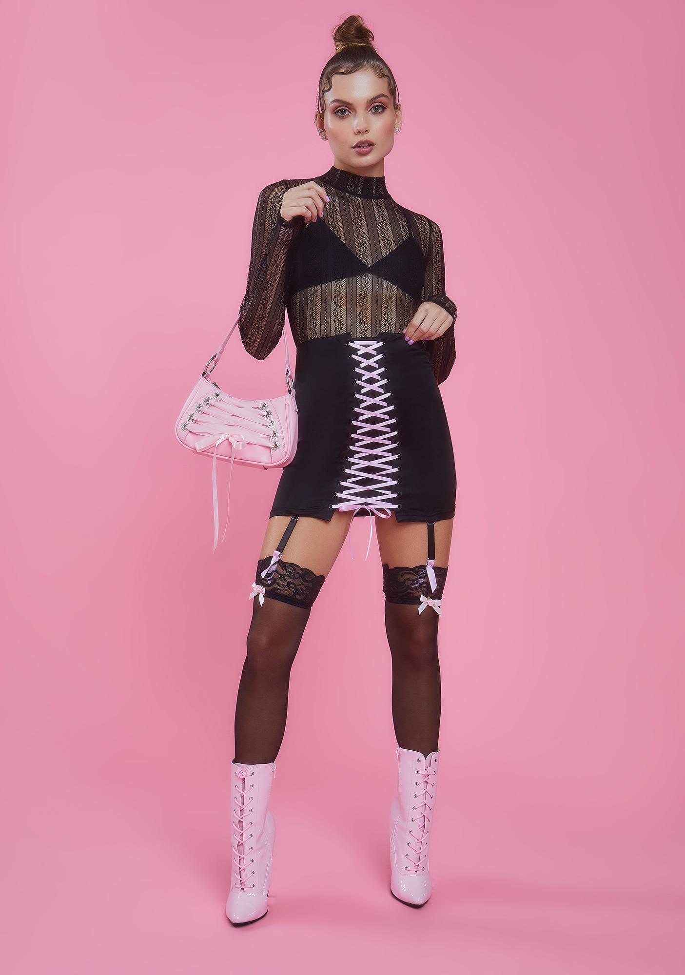 Sugar Thrillz Watch Me Jete Lace-Up Skirt