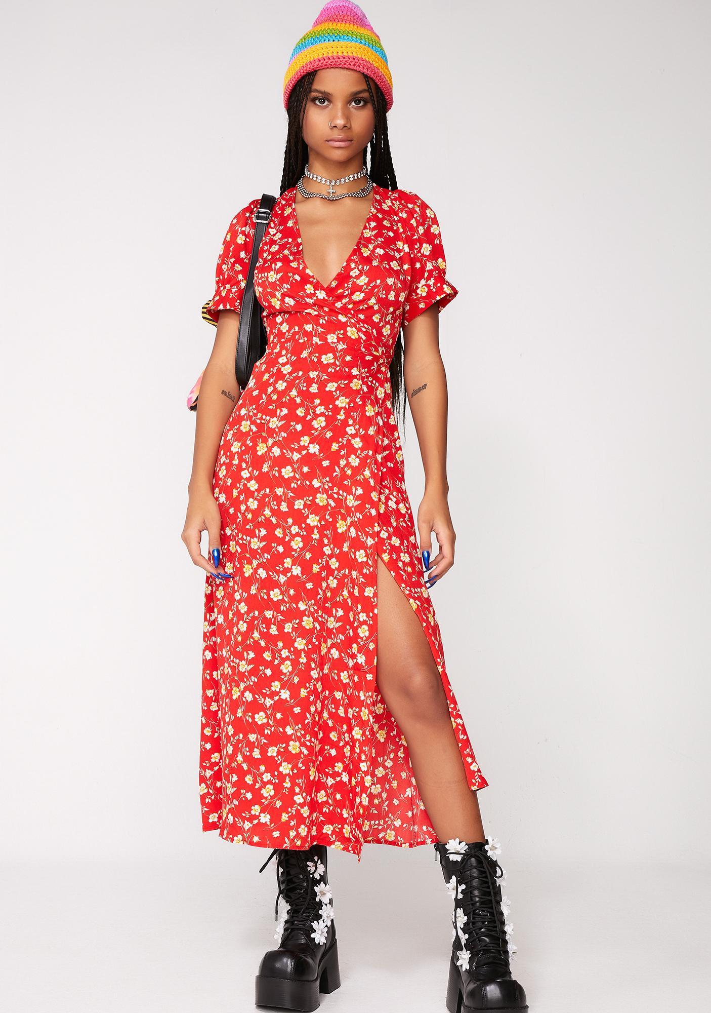 Floral Midi Wrap Dress Dolls Kill