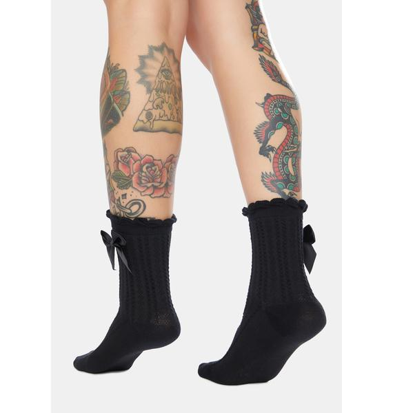 Blackout Bow On Top Ribbed Crew Socks