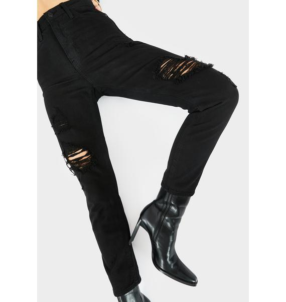 Just Black Denim Black Distressed Mom Jeans