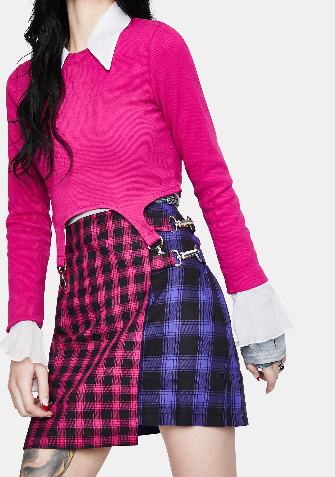 The Ragged Priest Matter Plaid Mini Skirt