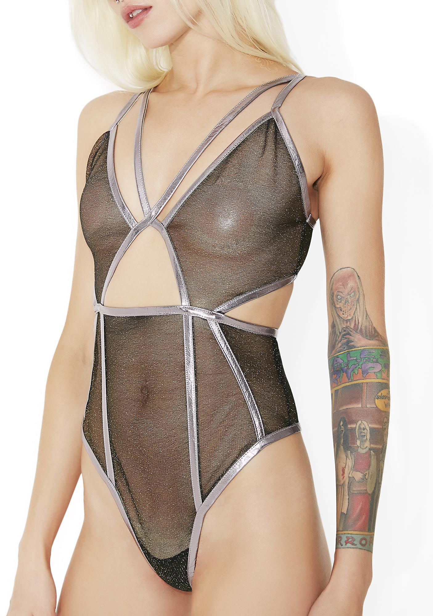 For Love & Lemons Glitter Vega Glitter Bodysuit