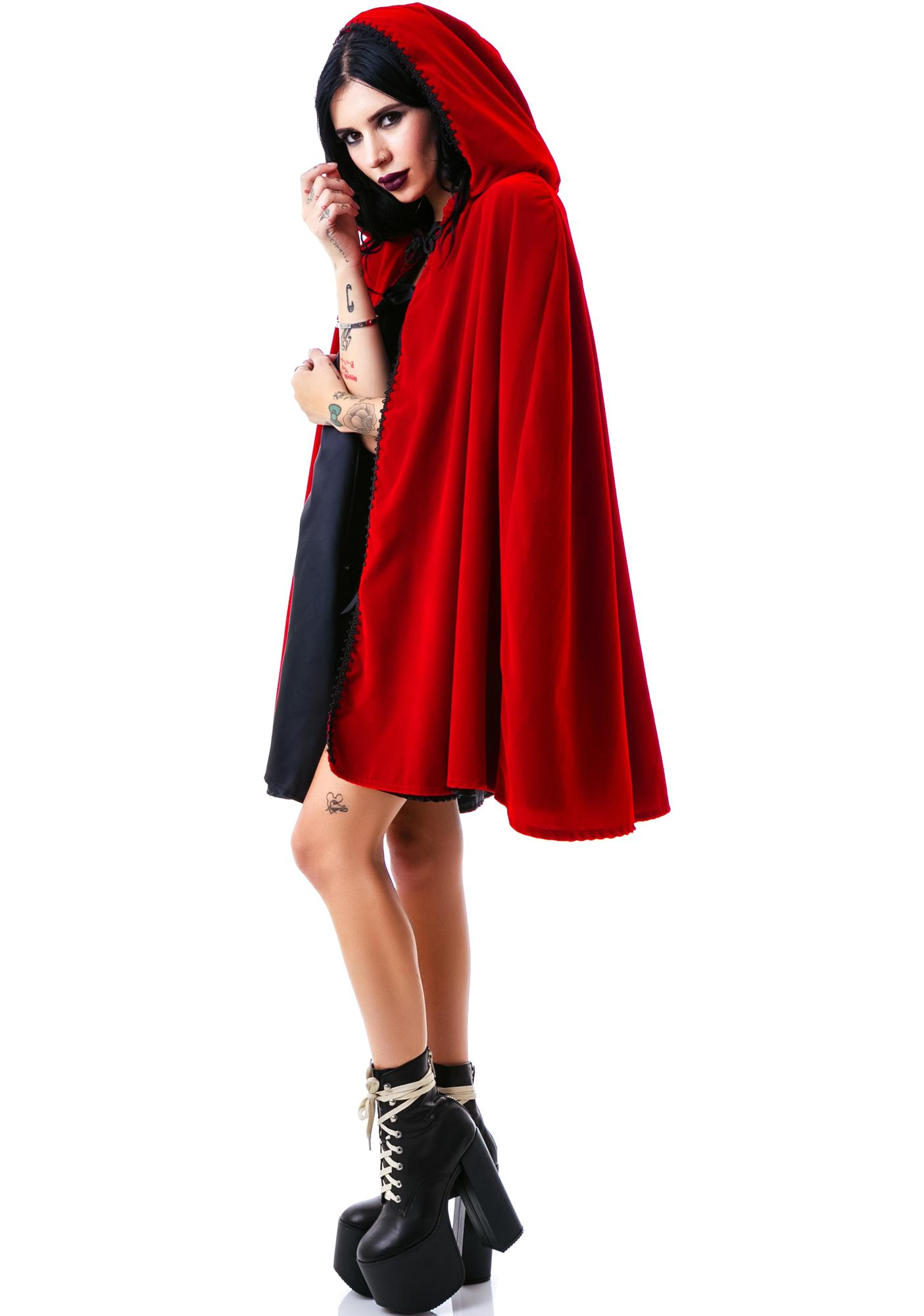 Short Velvet Hooded Cape