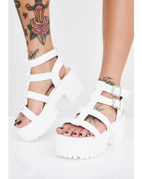 White Teresa Chunky Platform Sandals