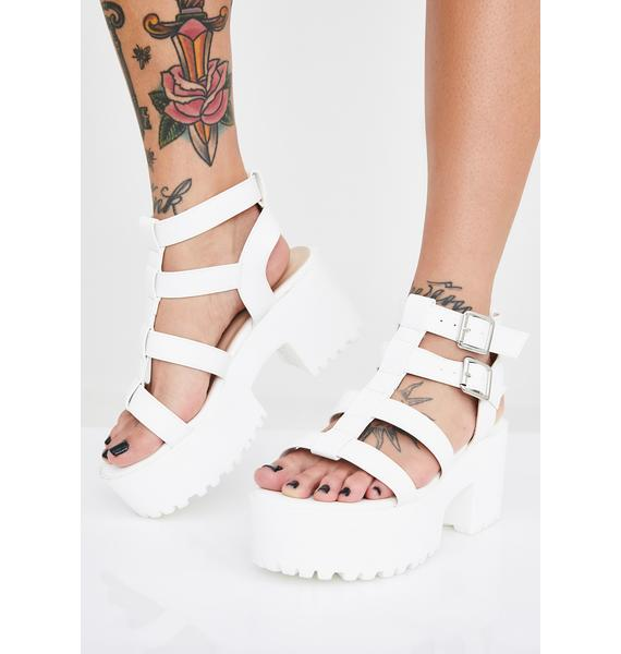 Public Desire White Teresa Chunky Platform Sandals
