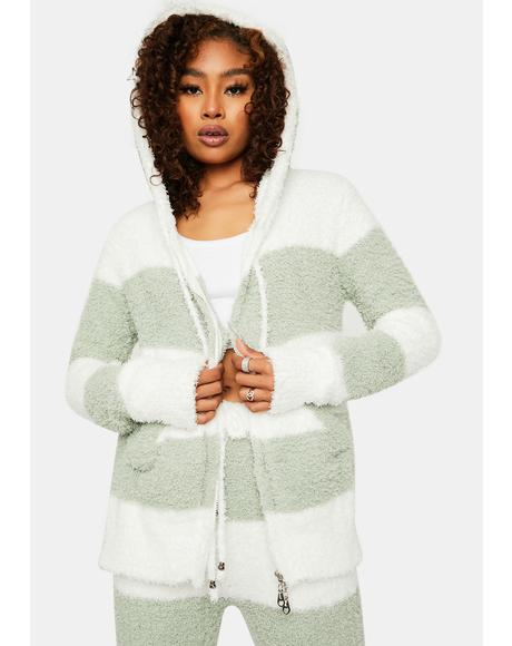 Sage Don't Call The Fuzz Striped Hoodie