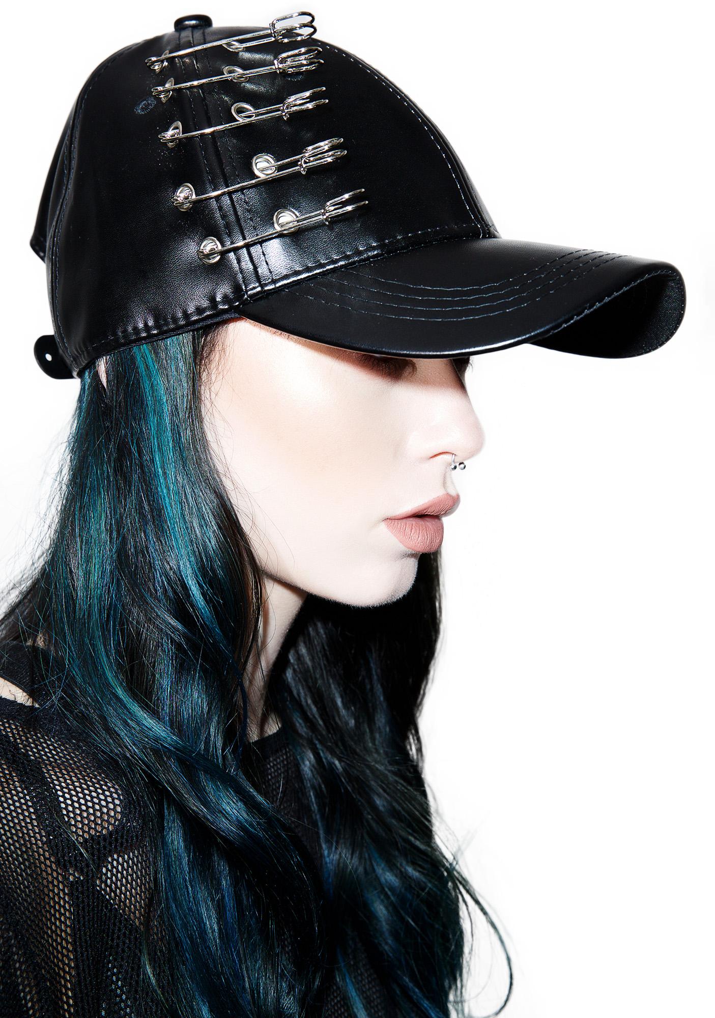 Vegan Leather Safety Pin Hat