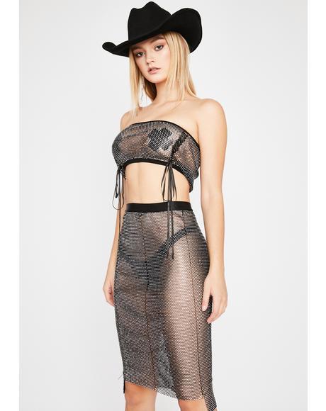 Southern Royalty Rhinestone Midi Skirt