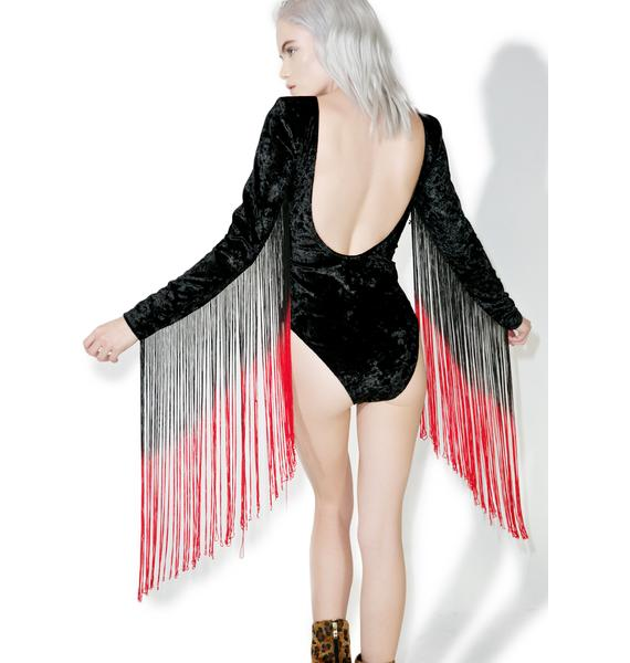 Jaded London Love And Hate Velvet Bodysuit