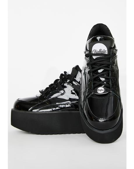Rising Tower Cuir Verni Noir Patent Sneakers