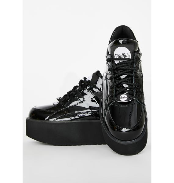 Buffalo London Rising Tower Cuir Verni Noir Patent Sneakers