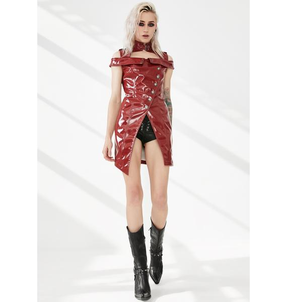 Punk Rave Red Punk Flaming Patent Leather Dress