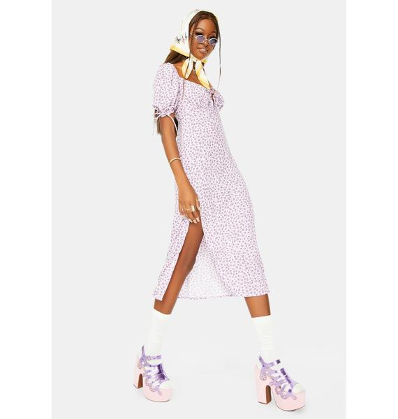 Motel Ditsy Rose Lilac Cello Midi Dress