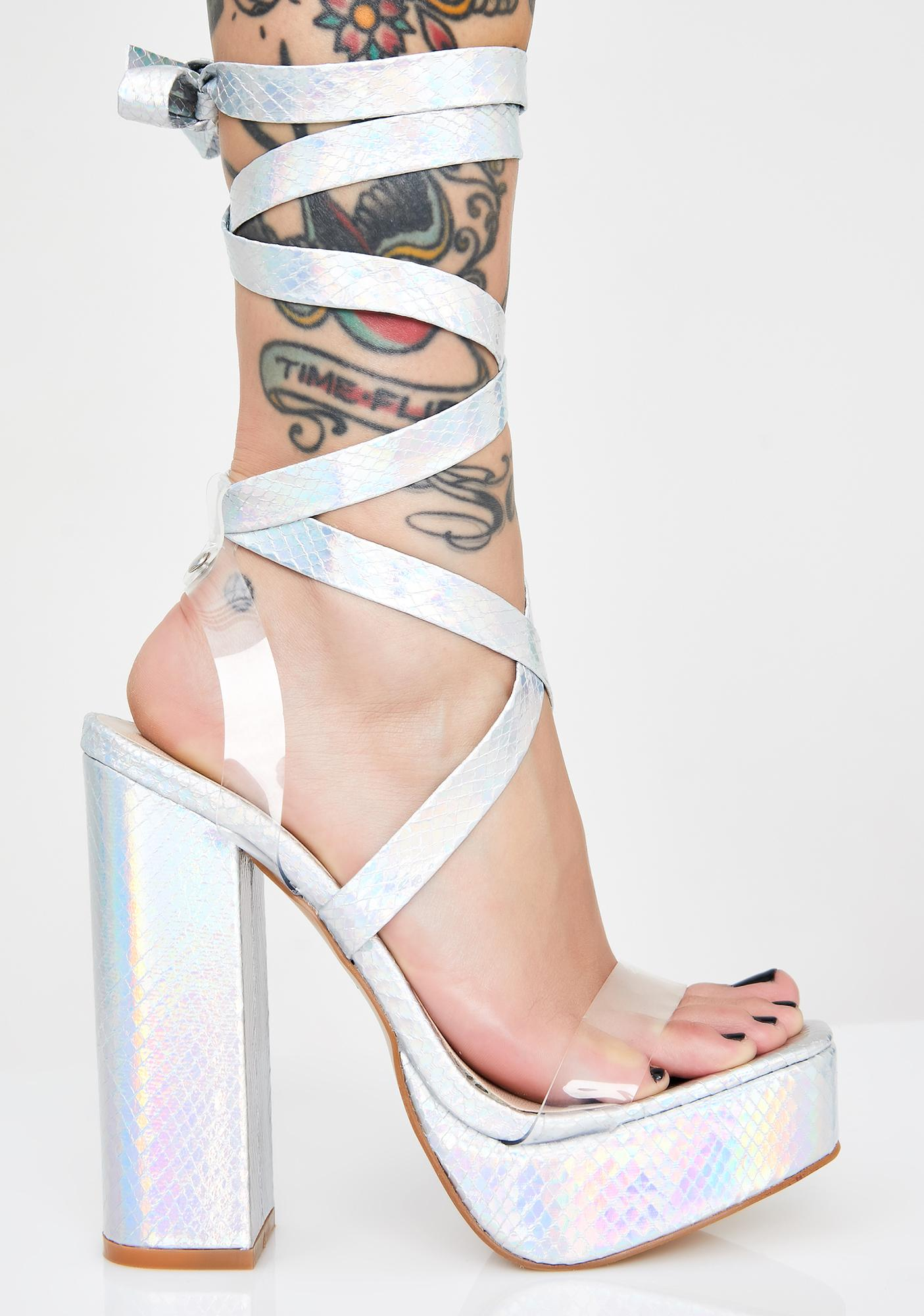 Public Desire Chrome Destiny Wrap Heels