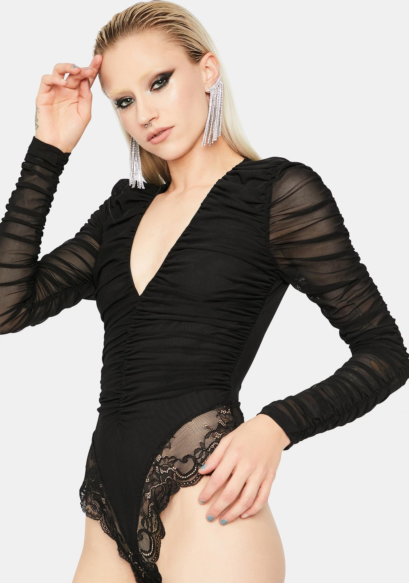 Can't Come Close Ruched Bodysuit