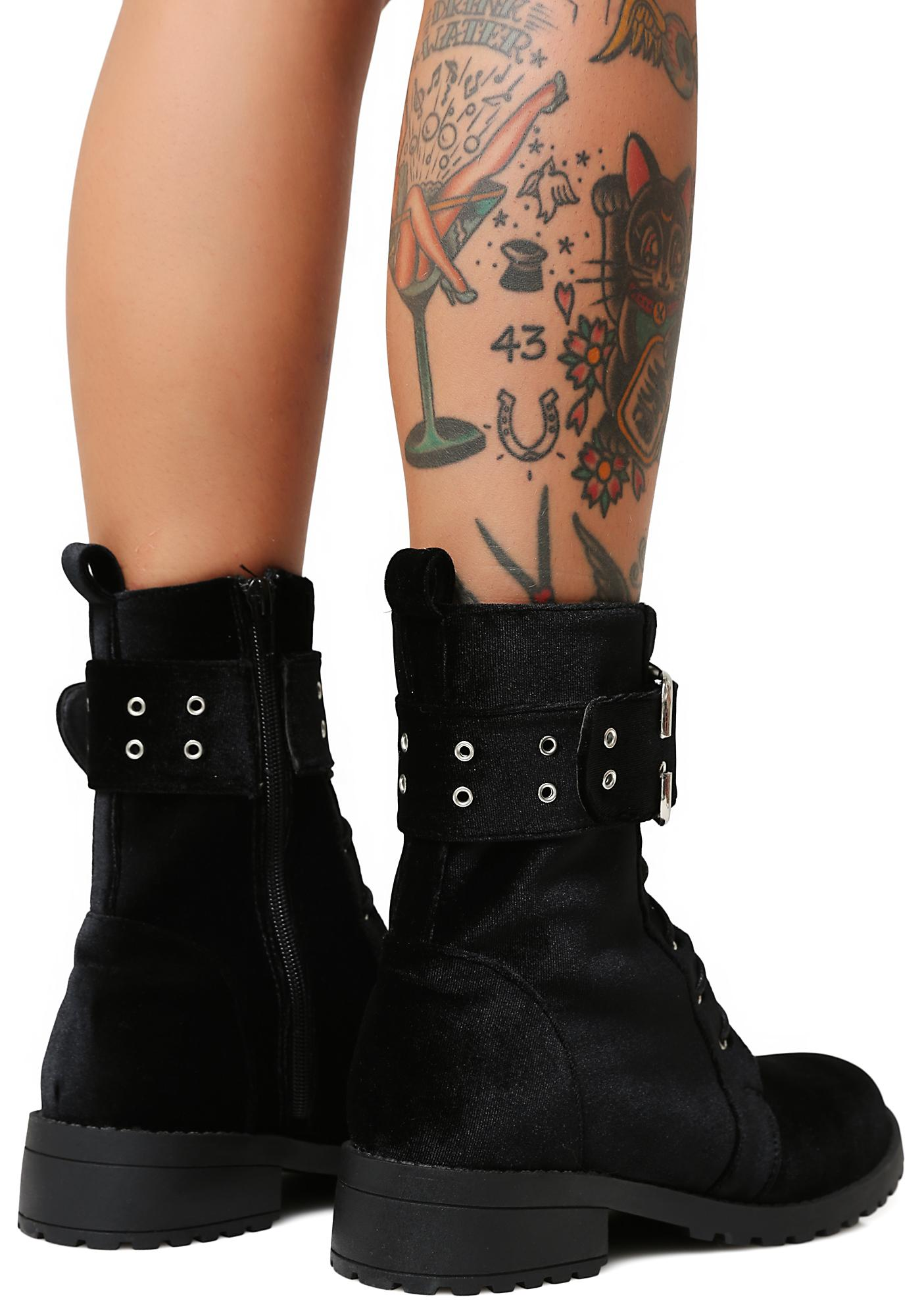 Privileged Onyx Savaged Combat Boots