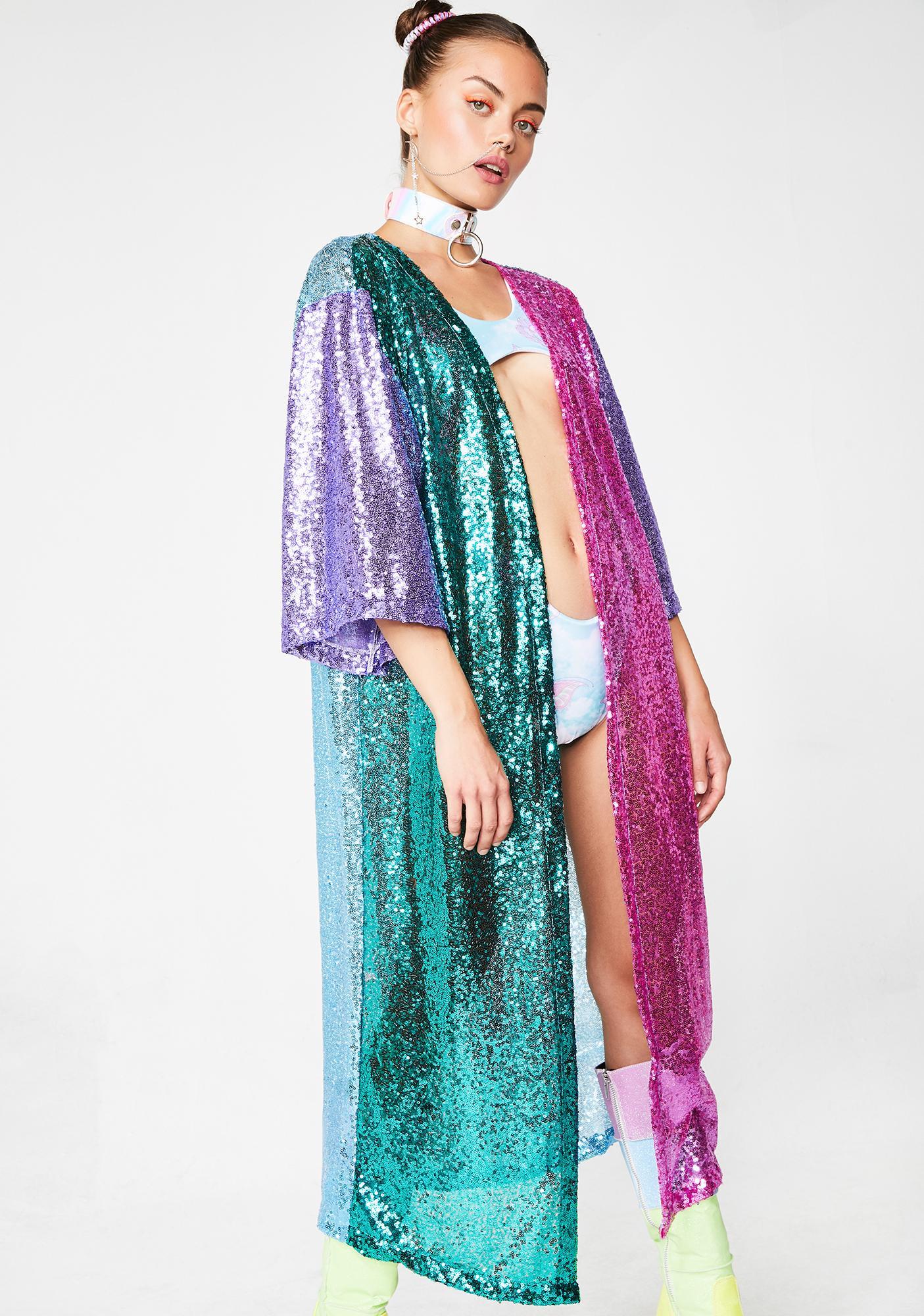 12e00820c3c Rainbow Colorblock Sequin Kimono