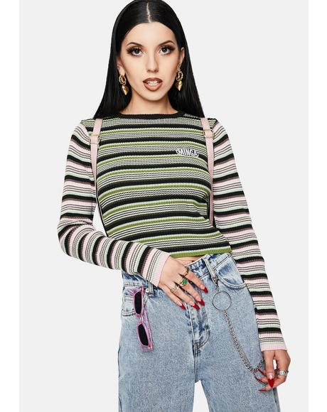 Fantasy Striped Ribbed Top