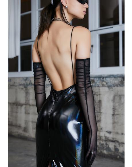 Kickdrum Holographic Maxi Dress