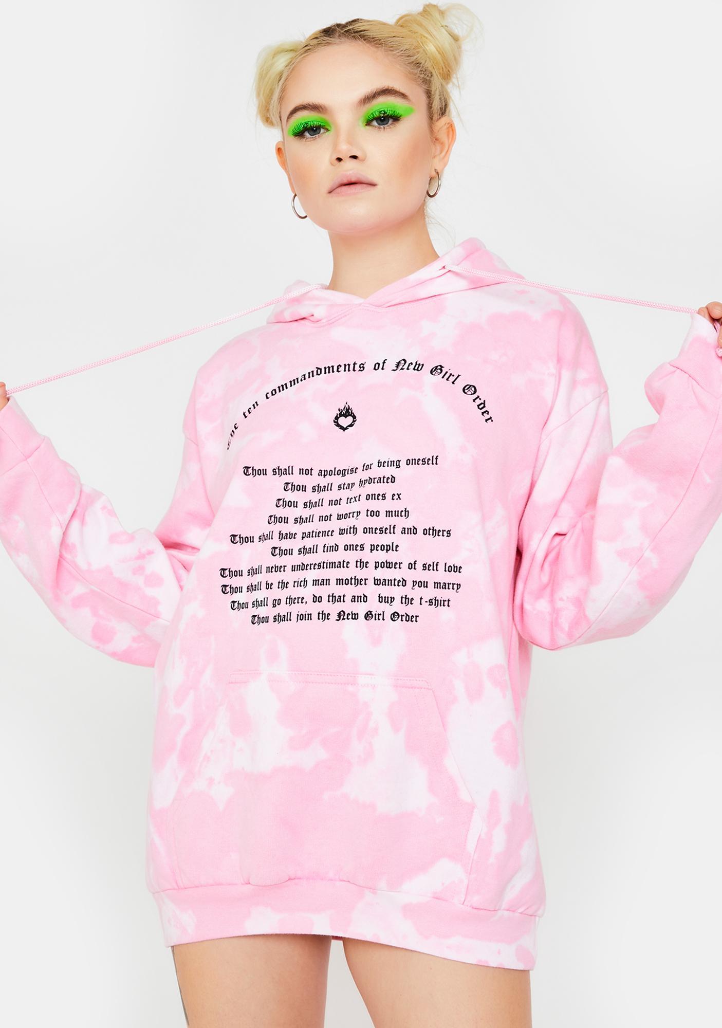 NEW GIRL ORDER Commandments Tie Dye Hoodie