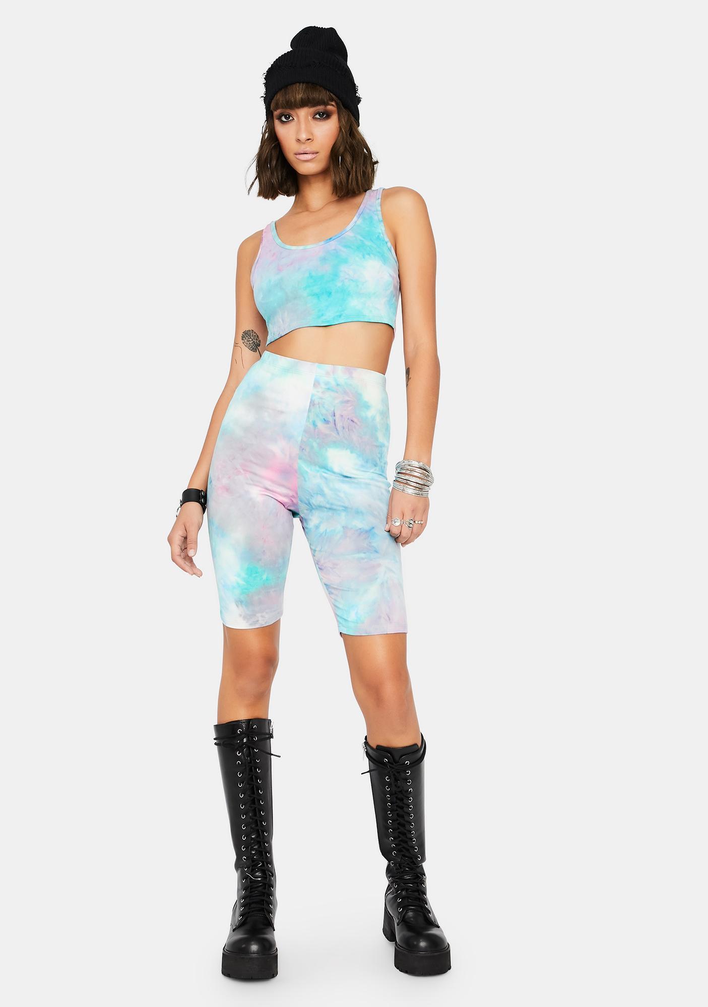 Aqua I'm Trendy Tie Dye Shorts Set