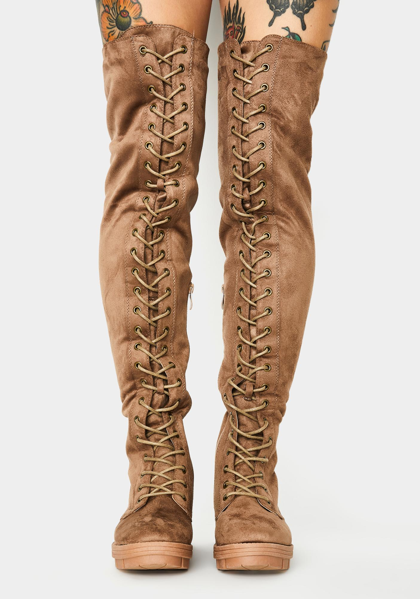 Nude View Count Knee High Boots