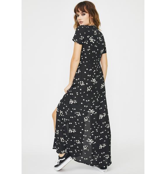 Daisy Street Daisy Print V Neck Maxi Dress