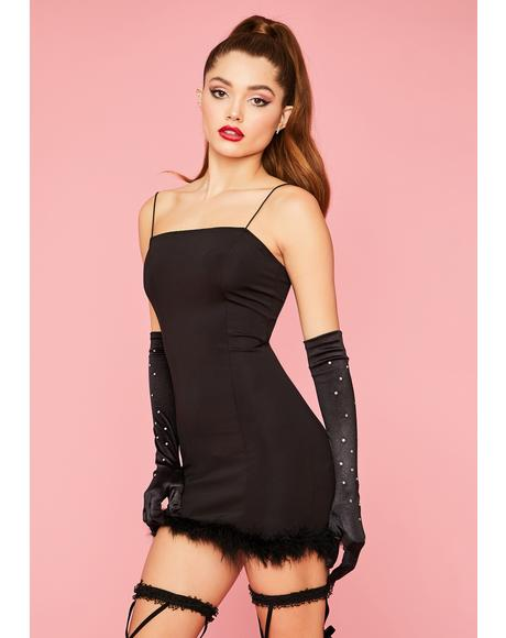 Darling in the Dusk Marabou Mini Dress