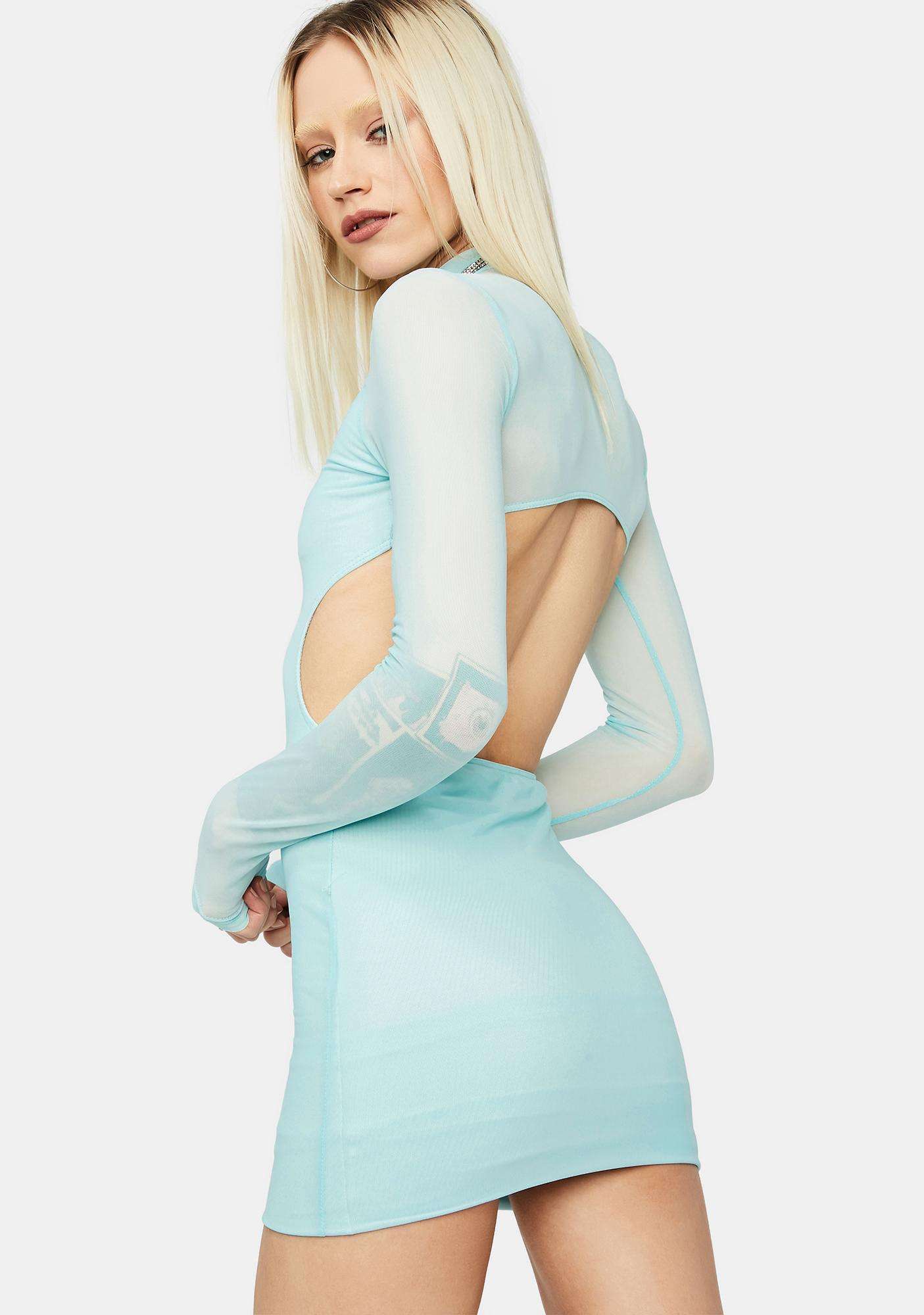 Mint Fierce Bestie Long Sleeve Mesh Open Back Bodycon Dress