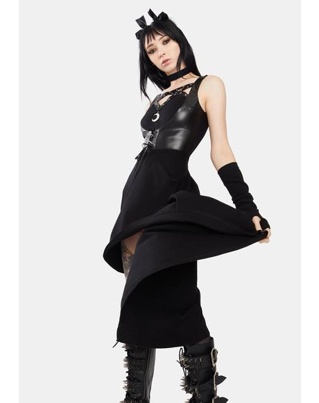 Punk Moon High Low Corset Midi Dress