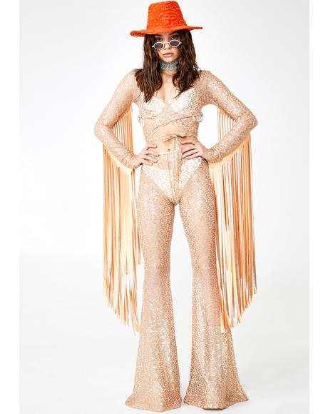 Champagne Shimmer Sequin Bell Bottoms