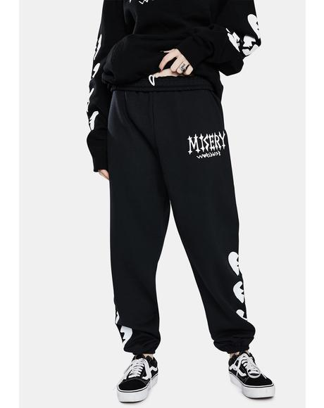 Black Broken Heart Sweatpants