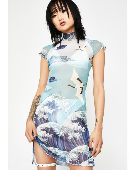 Tidal Wave Mesh Dress