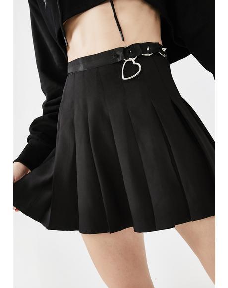High Waist Ring Buckle Pleated Skirt