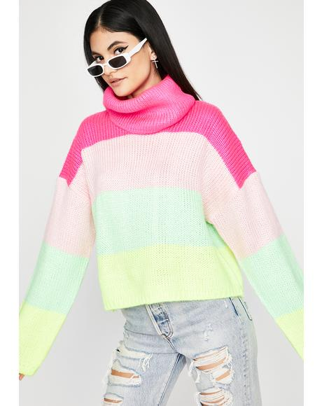 Sherbet Swirl Turtleneck Sweater