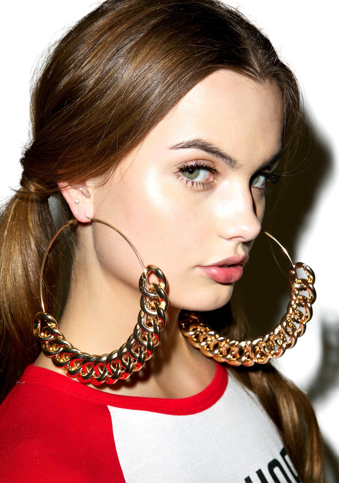 Golden Chain Gang Hoop Earrings