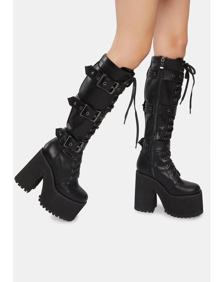 Wicked Guardian Platform Buckle Boots