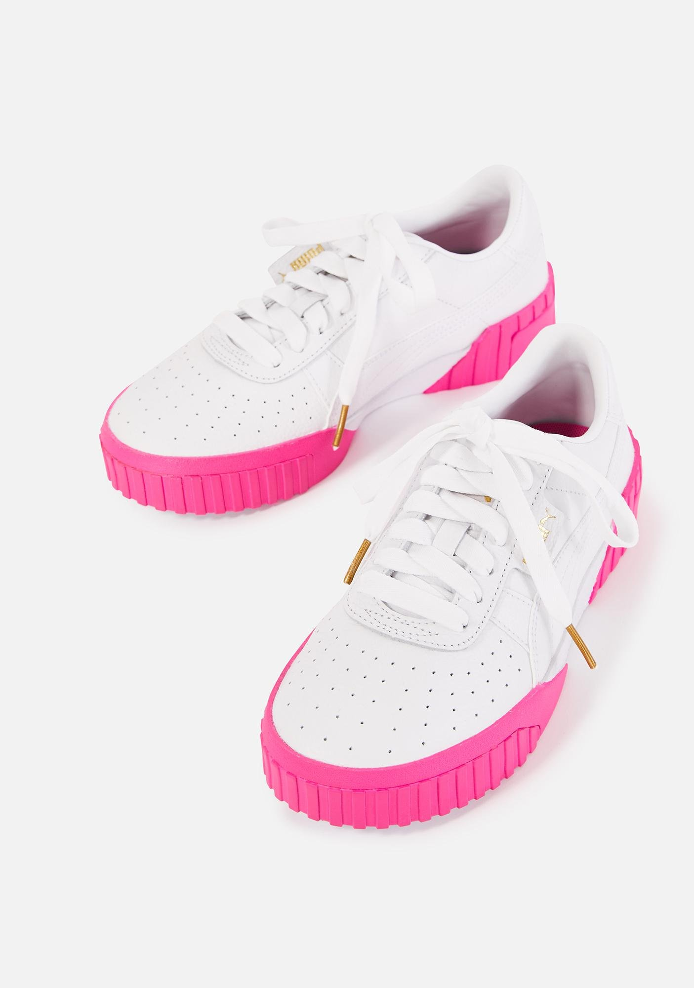 PUMA Pink Sole Cali Leather Sneakers