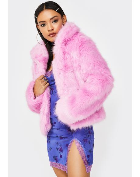 Sugar Pink Faux Fur Coat