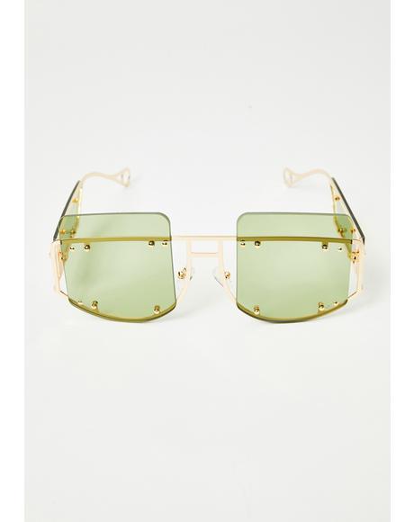 Lime Cyber Martini Square Sunglasses