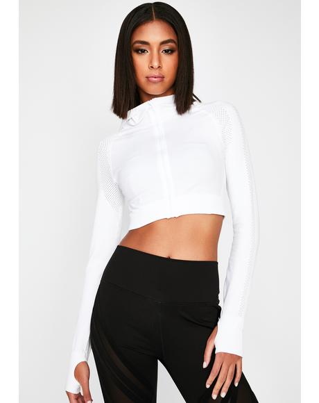 Pure Morning Jog Mesh Crop Hoodie