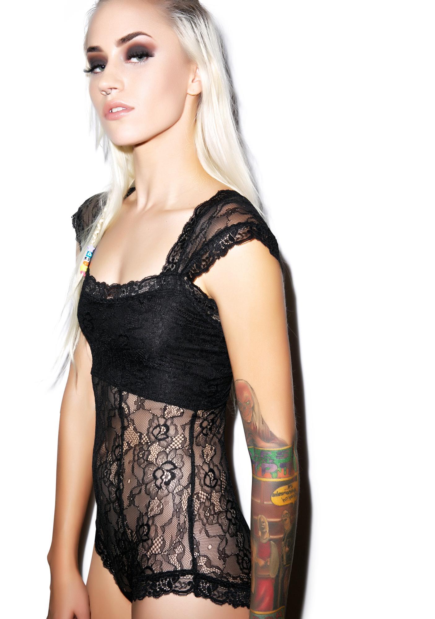Lip Service Black Romance Stretch Lace Bodysuit