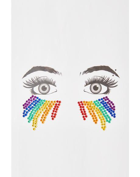 Rainbow Rhinestone Face Gems