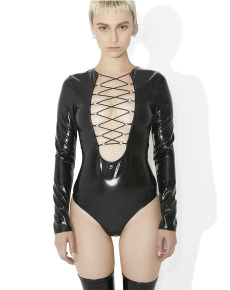 Deadly Toxin Vinyl Lace-Up Bodysuit