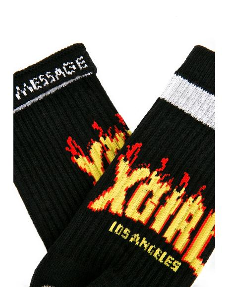 Black Flame Logo Socks